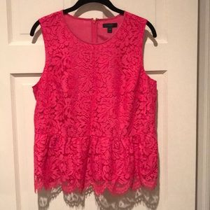NWT J. crew Hot Pink Lace Blouse